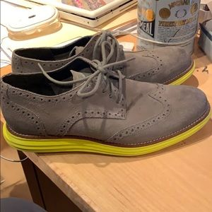 Cole Haan Lunargrand Grey Suede Wing Tip Yellow